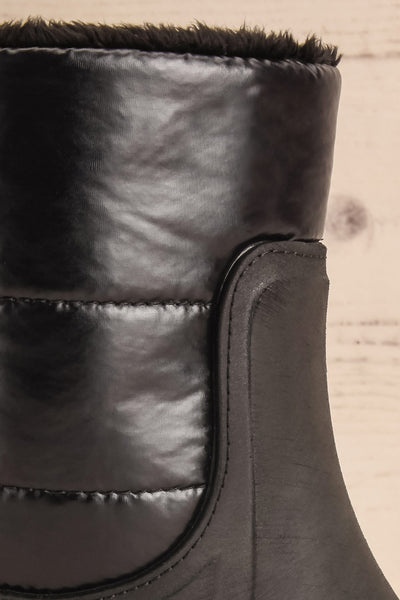 Romina Black Matt & Nat Ankle Rain Boots side close-up | La Petite Garçonne