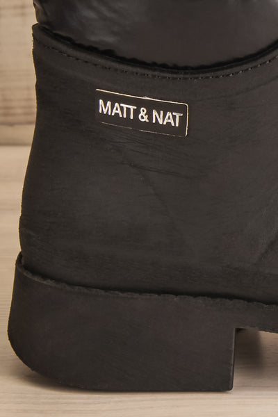 Romina Black Matt & Nat Ankle Rain Boots logo close-up | La Petite Garçonne