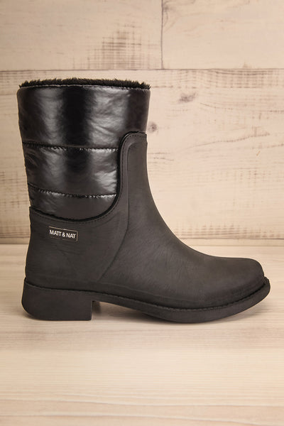 Romina Black Matt & Nat Ankle Rain Boots side view | La Petite Garçonne