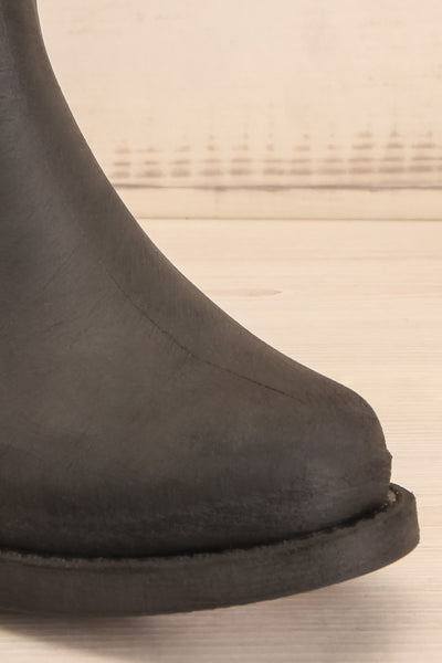 Romina Black Matt & Nat Ankle Rain Boots front close-up | La Petite Garçonne
