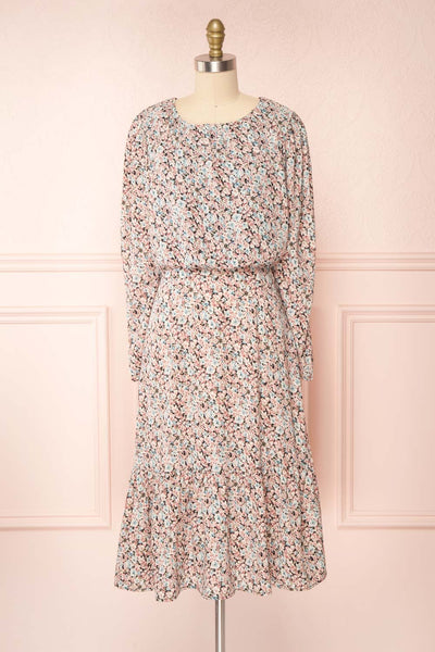 Rosalind Floral Long Sleeve Midi Dress | Boutique 1861 front view