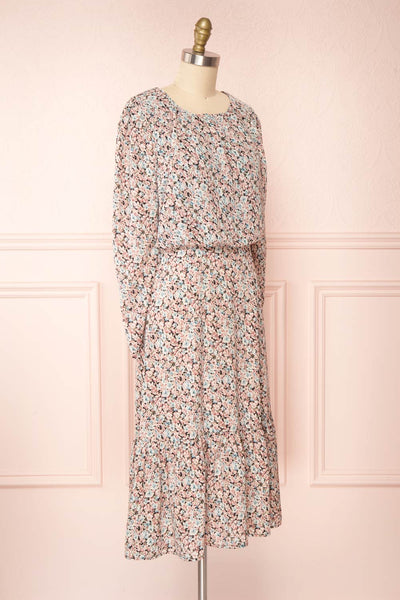 Rosalind Floral Long Sleeve Midi Dress | Boutique 1861 side view