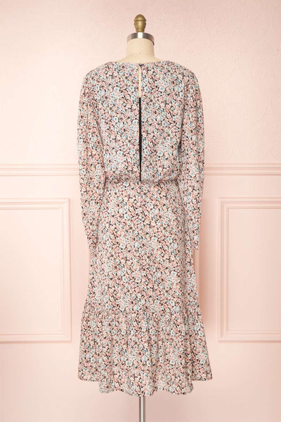 Rosalind Floral Long Sleeve Midi Dress | Boutique 1861 back view