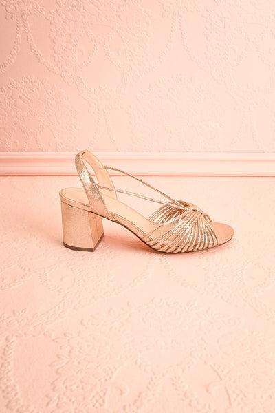 Rouelle | Gold Slingback Heeled Sandals