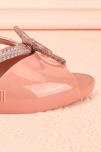 Rubens Pixie Pink & Rose Gold Bow Slip-On Sandals | Boutique 1861 7