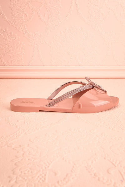 Rubens Pixie Pink & Rose Gold Bow Slip-On Sandals | Boutique 1861 5
