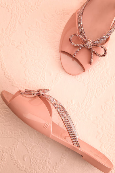 Rubens Pixie Pink & Rose Gold Bow Slip-On Sandals | Boutique 1861 1