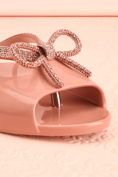 Rubens Pixie Pink & Rose Gold Bow Slip-On Sandals | Boutique 1861 4