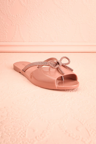 Rubens Pixie Pink & Rose Gold Bow Slip-On Sandals | Boutique 1861 3