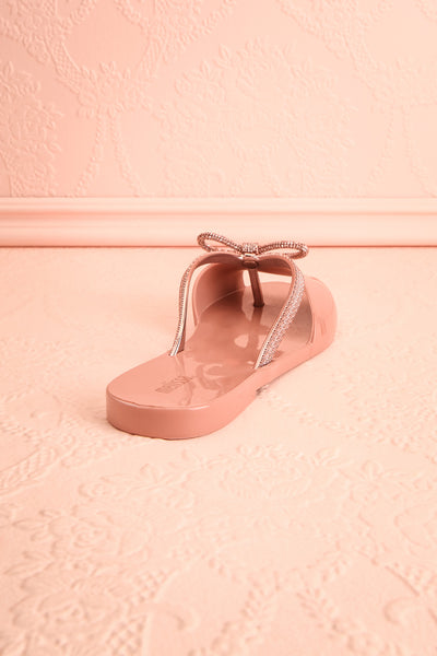 Rubens Pixie Pink & Rose Gold Bow Slip-On Sandals | Boutique 1861 8