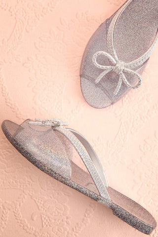 Rubens Twilight Silver Glitter Bow Slip-On Sandals | Boutique 1861