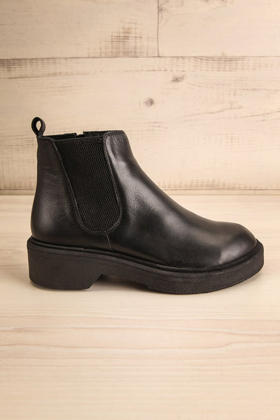 Rurrena Black Chelsea Leather Boots | La petite garçonne side view