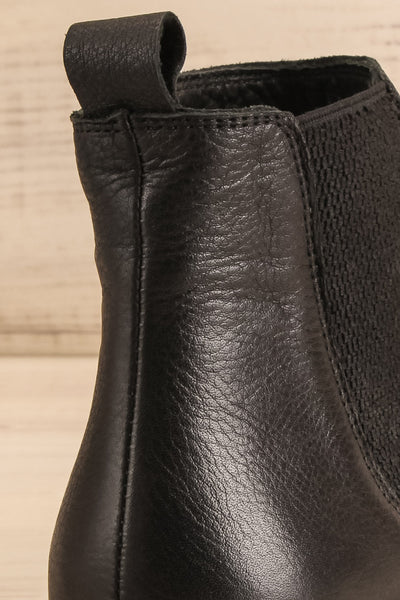 Rurrena Black Chelsea Leather Boots | La petite garçonne back close-up