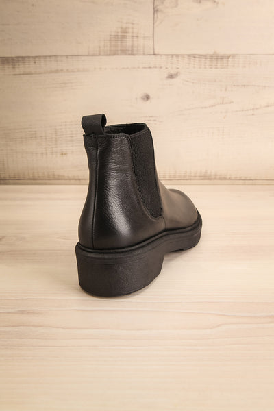 Rurrena Black Chelsea Leather Boots | La petite garçonne back view