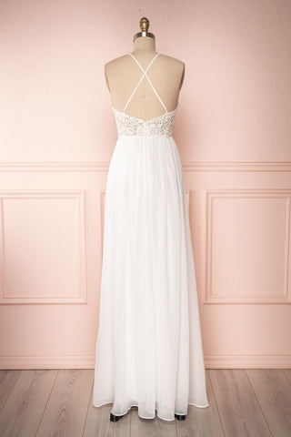 Sabira Ivory Maxi Dress | Robe Ivoire back view | Boudoir 1861