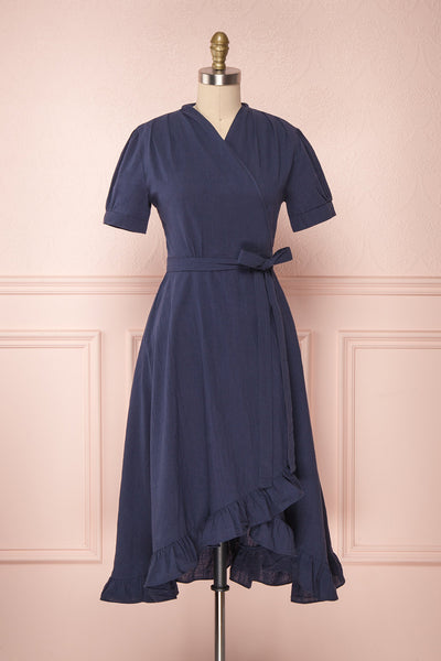Saeko Sea Navy Blue Ruffled Wrap Dress | Boutique 1861