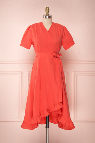 Saeko Volcano Coral Red Ruffled Wrap Dress | Boutique 1861