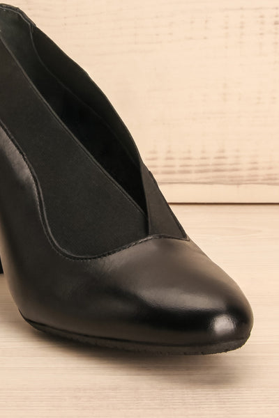 Saltara Black Leather Heels front close-up | La Petite Garçonne Chpt. 2 5