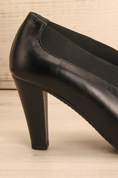 Saltara Black Leather Heels side heel close-up | La Petite Garçonne Chpt. 2 7