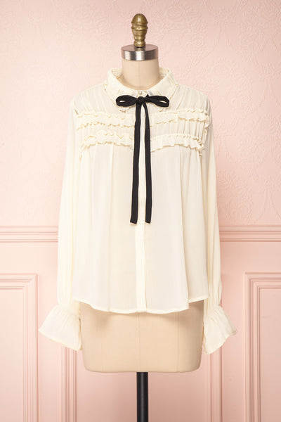 Sangmu Cream Chiffon Ruffled Blouse | Boutique 1861
