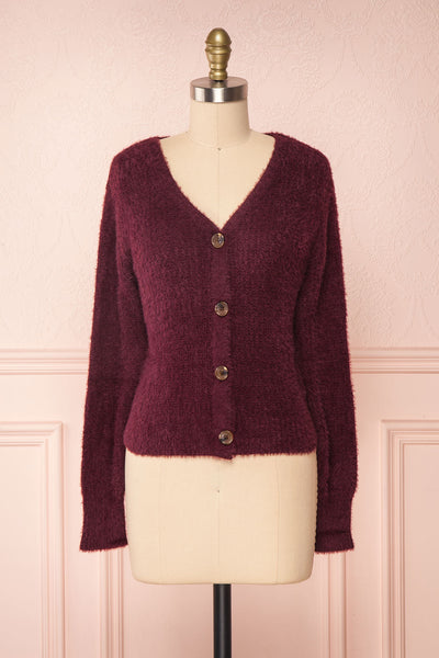 Saori Burgundy Knit Button-Up Cardigan | Boutique 1861 front view