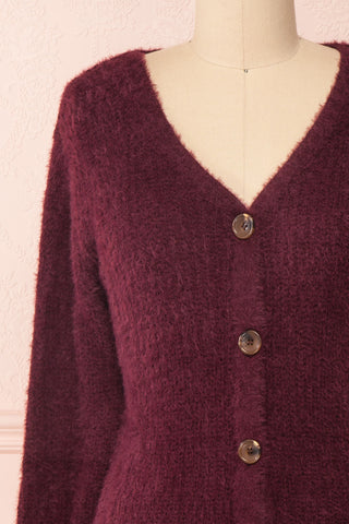 Saori Burgundy Knit Button-Up Cardigan | Boutique 1861 front close-up