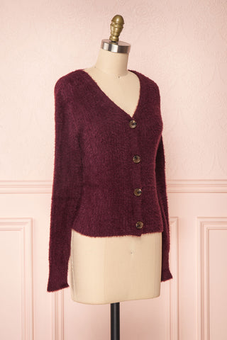 Saori Burgundy Knit Button-Up Cardigan | Boutique 1861 side view