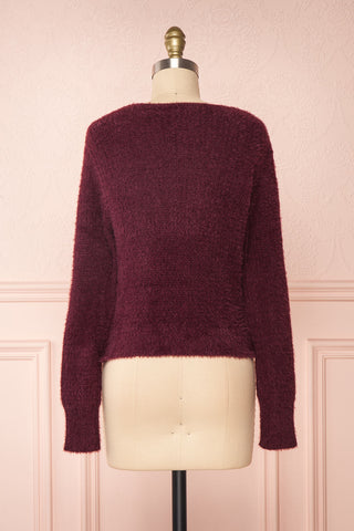 Saori Burgundy Knit Button-Up Cardigan | Boutique 1861 back view