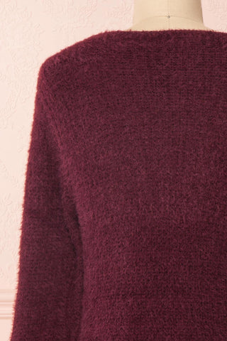 Saori Burgundy Knit Button-Up Cardigan | Boutique 1861 back close-up