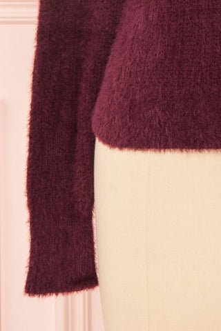 Saori Burgundy Knit Button-Up Cardigan | Boutique 1861 bottom close-up