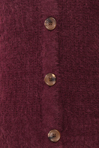Saori Burgundy Knit Button-Up Cardigan | Boutique 1861 fabric detail