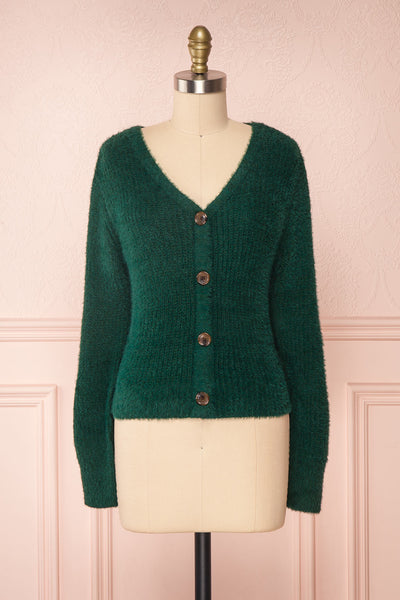 Saori Green Knit Button-Up Cardigan | Boutique 1861 front view