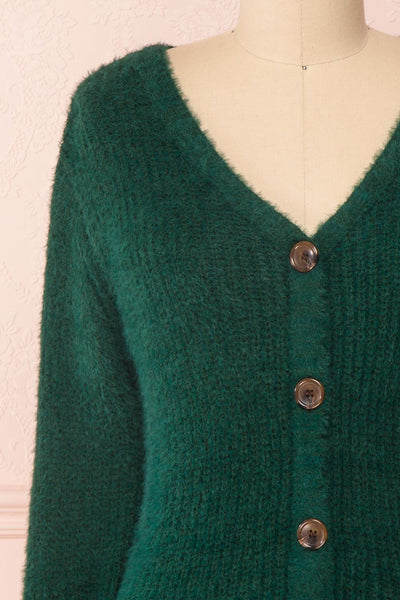 Saori Green Knit Button-Up Cardigan | Boutique 1861 front close-up