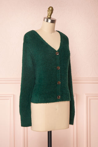 Saori Green Knit Button-Up Cardigan | Boutique 1861 side view