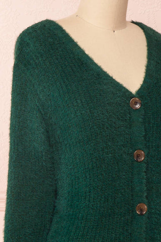 Saori Green Knit Button-Up Cardigan | Boutique 1861 side close-up