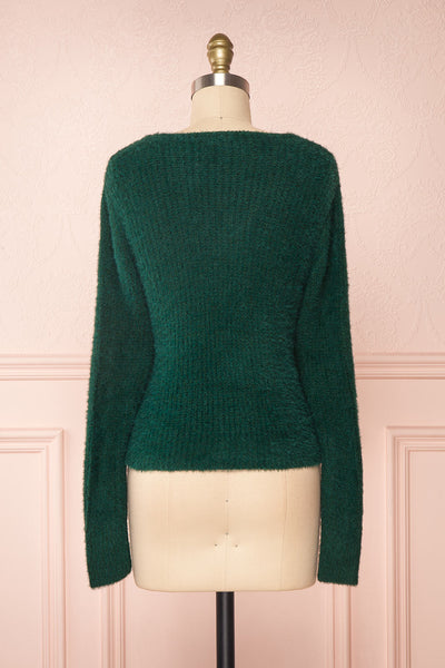 Saori Green Knit Button-Up Cardigan | Boutique 1861 back view