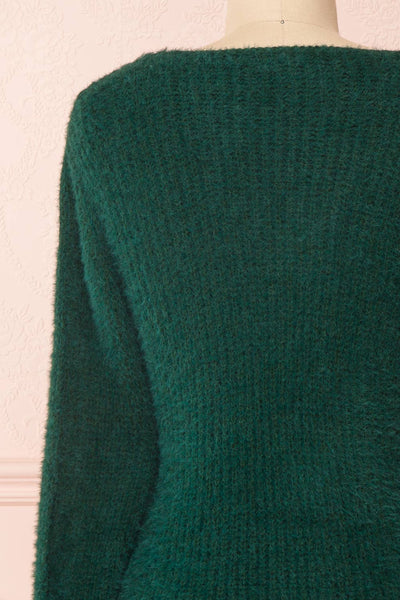 Saori Green Knit Button-Up Cardigan | Boutique 1861 back close-up