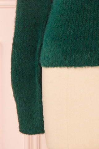 Saori Green Knit Button-Up Cardigan | Boutique 1861 bottom close-up