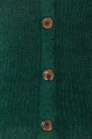 Saori Green Knit Button-Up Cardigan | Boutique 1861 fabric detail