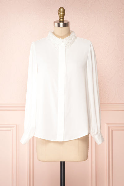 Saponaria White Long Sleeve Lace Collar Blouse | Boutique 1861 front view