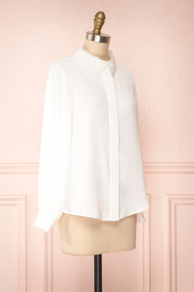 Saponaria White Long Sleeve Lace Collar Blouse | Boutique 1861 side view