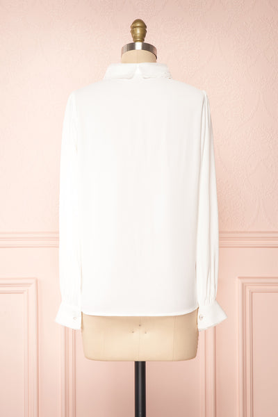 Saponaria White Long Sleeve Lace Collar Blouse | Boutique 1861 back view