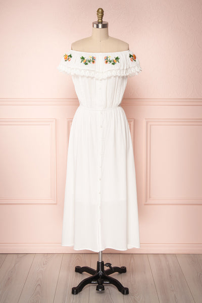 Sarai Cloud White Off-Shoulder Embroidered Midi Dress | Boutique 1861