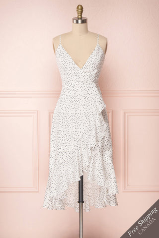 Sasuke Milk White & Black Polka Dot Wrap Dress | Boutique 1861