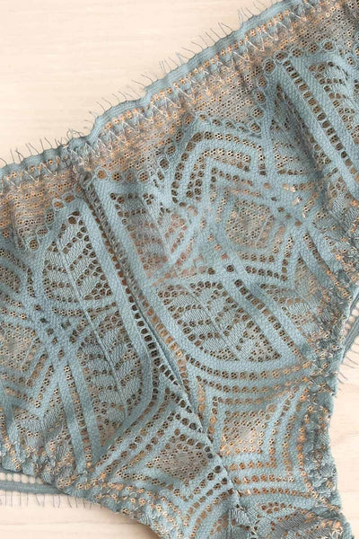 Satao Blue & Beige Lace & Mesh Tanga Panty | La Petite Garçonne flat close-up