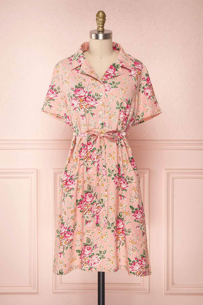 Satenik Pink Floral Button-Up Shirt Collar Dress | Boutique 1861