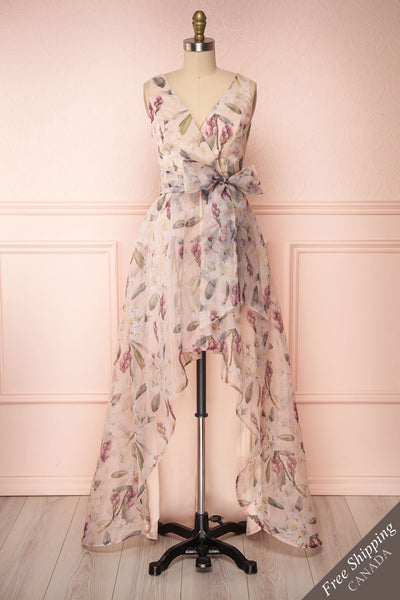 Saundra Blush Pink Floral High-Low Maxi Dress front view FS | Boutique 1861