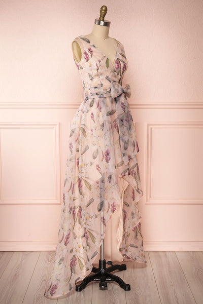 Saundra Blush Pink Floral High-Low Maxi Dress side view | Boutique 1861