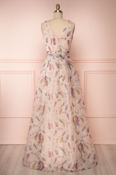 Saundra Blush Pink Floral High-Low Maxi Dress back view | Boutique 1861