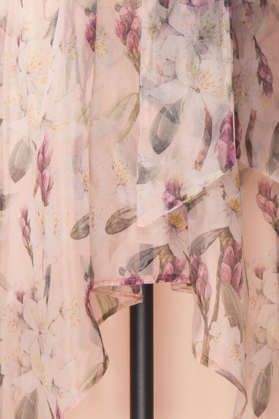 Saundra Blush Pink Floral High-Low Maxi Dress fabric | Boutique 1861